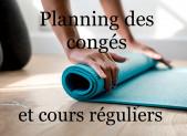 - Liens vers le planning des congés et des cours réguliers.